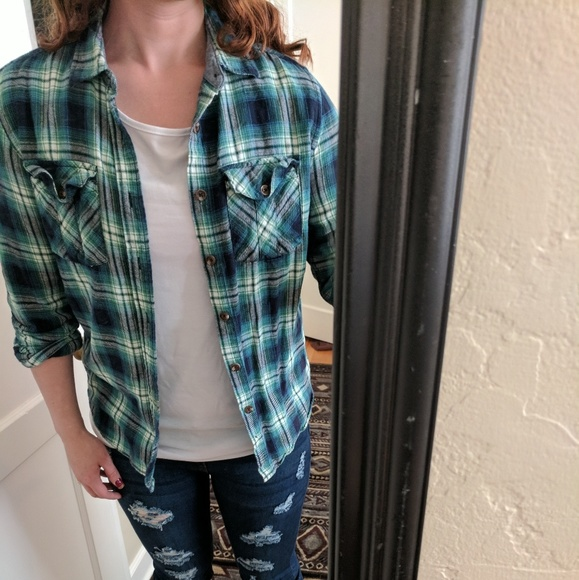 Tops - Green plaid